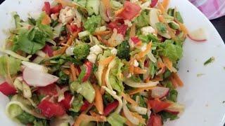 Зелёный салат. Два рецепта. Очень вкусно.