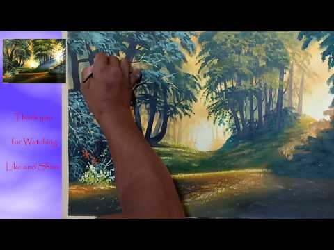 How to paint a beautiful scenery painting – Sunrise |  Landscape Painting | Simple & Easy
