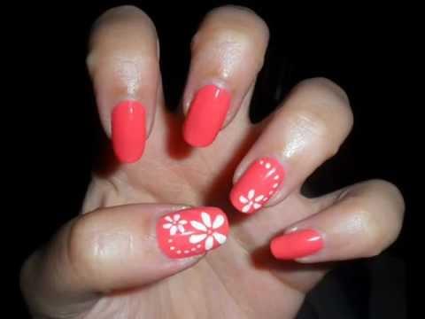 Tutorial nail art semplice fiori bianchi su unghie corallo,Simple white  flowers on coral nails