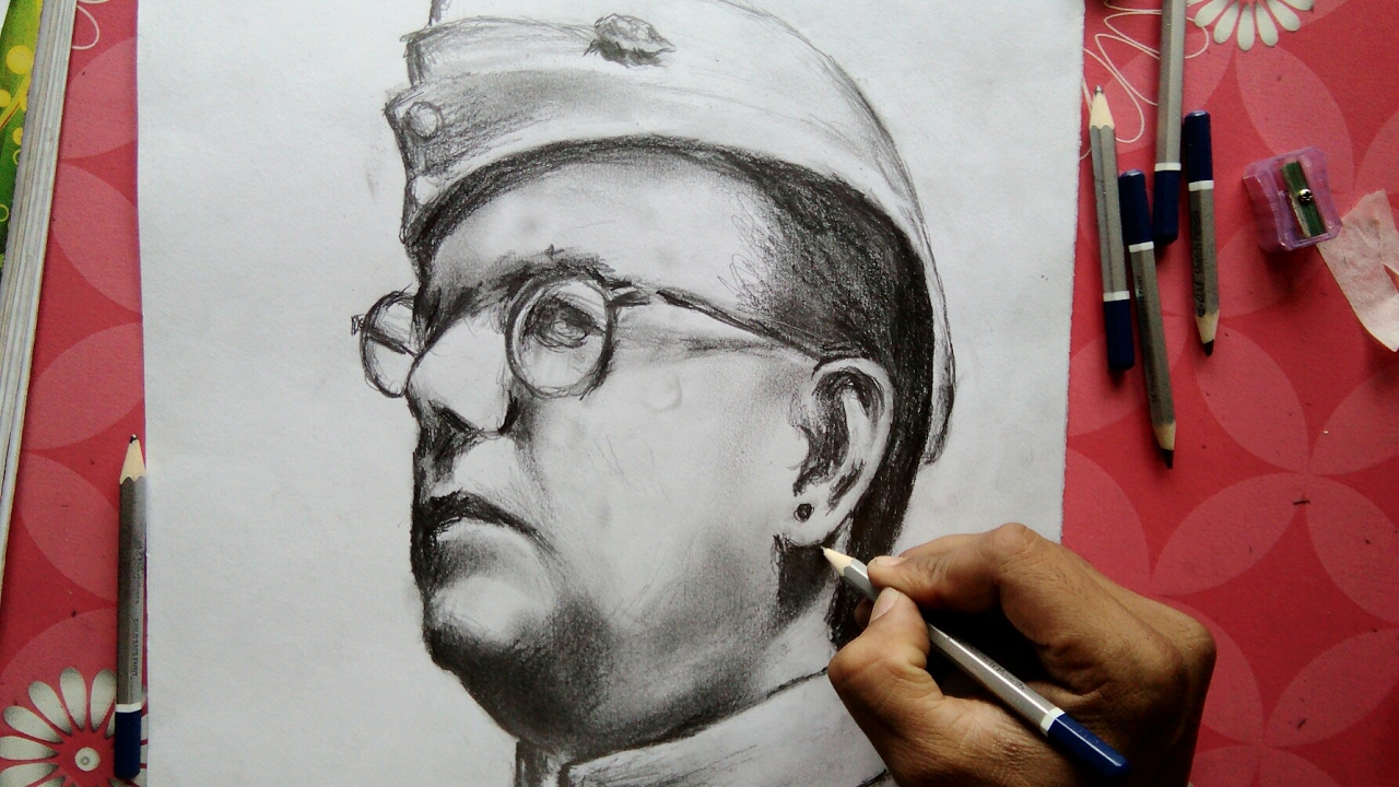 How to draw subhash chandra bose step by step tutorial for beginner