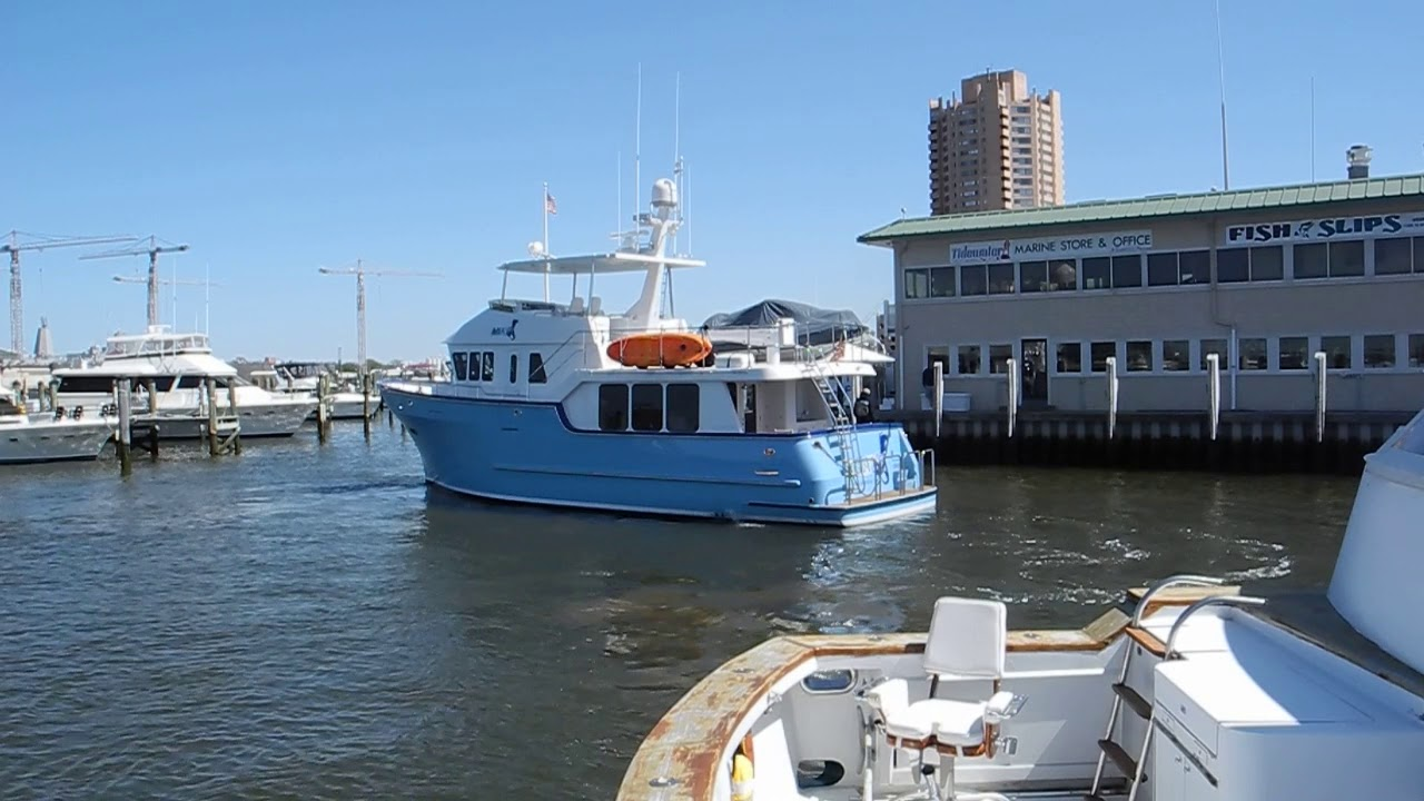 BIG baby blue trawler docking - Ask Captain Chris