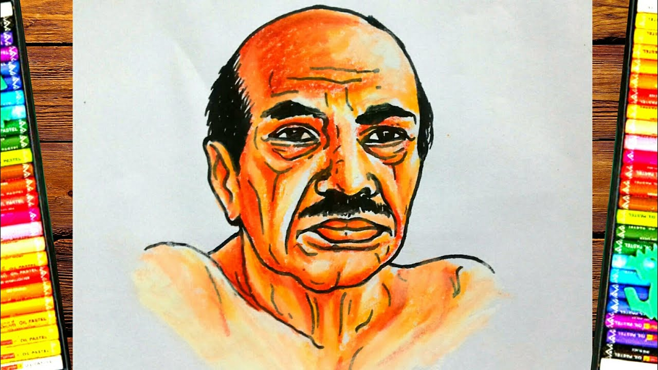 vaikom muhammad basheer drawing with pastel color - YouTube