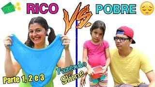 RICO VS POBRE FAZENDO AMOEBA / SLIME ( Parte 1, 2 e 3 ) Slime Satisfatório!!