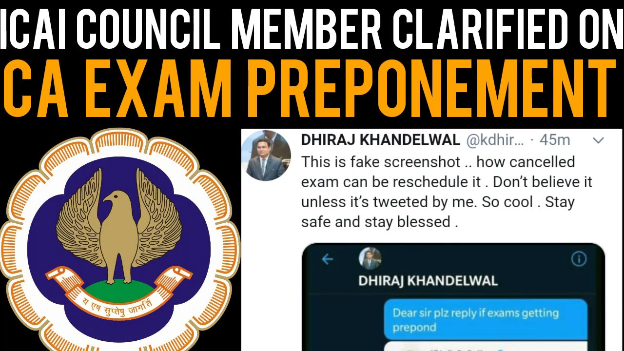 ICAI Council Member Clarified on CA Exam Preponement
