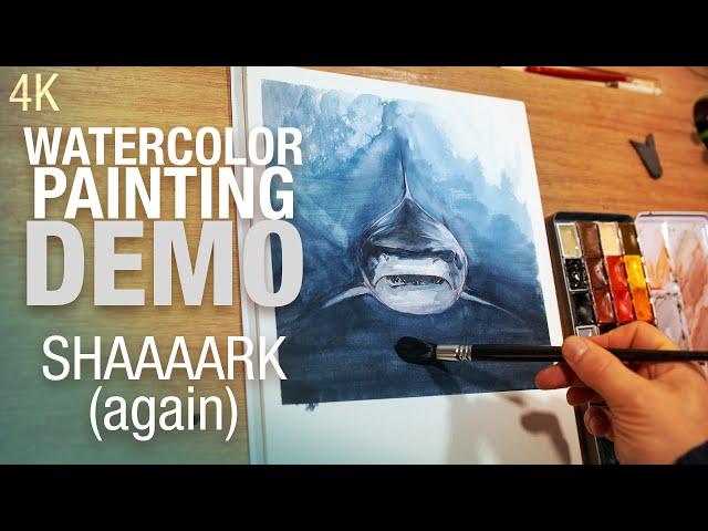 🎨 🦈 Demo aquarelle - peindre un requin de face