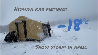 ŞİŞME ÇADIR İLE KAR FIRTINASI  I  Snow Storm With Air Tent