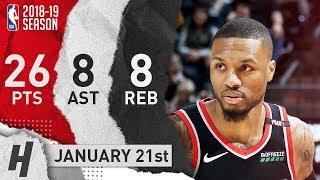 Damian Lillard Full Highlights Blazers vs Jazz 2019.01.21 - 26 Pts, 8 Reb, 8 Rebounds!