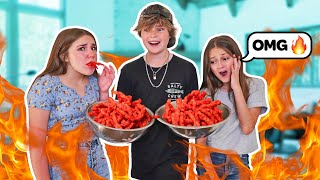 LAST TO STOP EATING HOT CHEETOS WINS $10,000 CHALLENGE **EXTREMELY HOT FOOD**🔥🥵| Hayden Haas