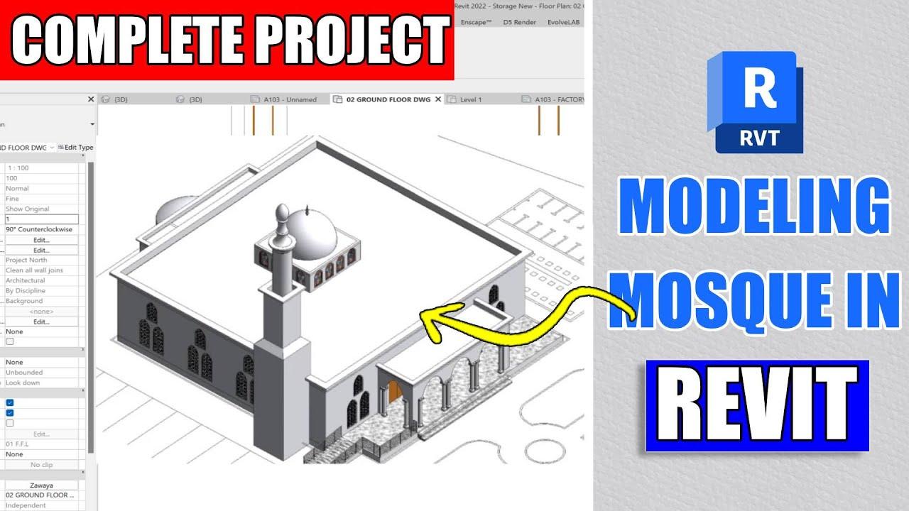 Revit Complete Project #12   Mosque Design In Revit Architecture Part 1