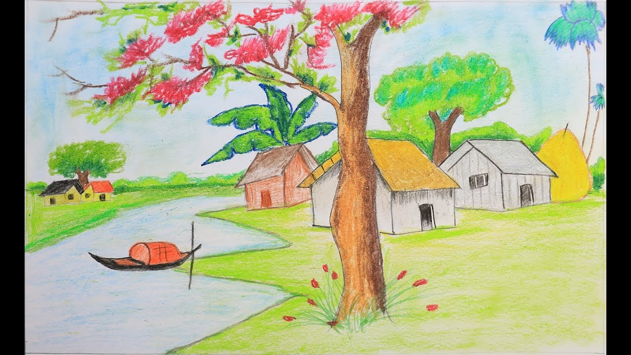 How to draw a scenery of spring season step by step | easy ...