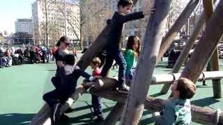 Children playing in the Playground. Jubilee Gardens LONDON TRAVEL Funny Situations
