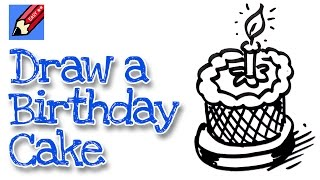 How to draw a birthday cake real easy - for kids and beginners