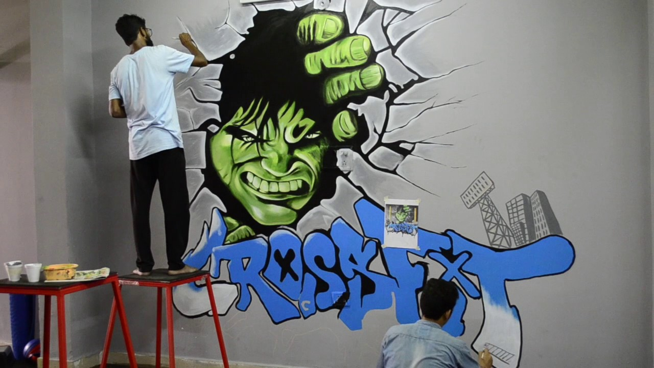 Hulk 3d Graffiti at Dream Fitness - YouTube