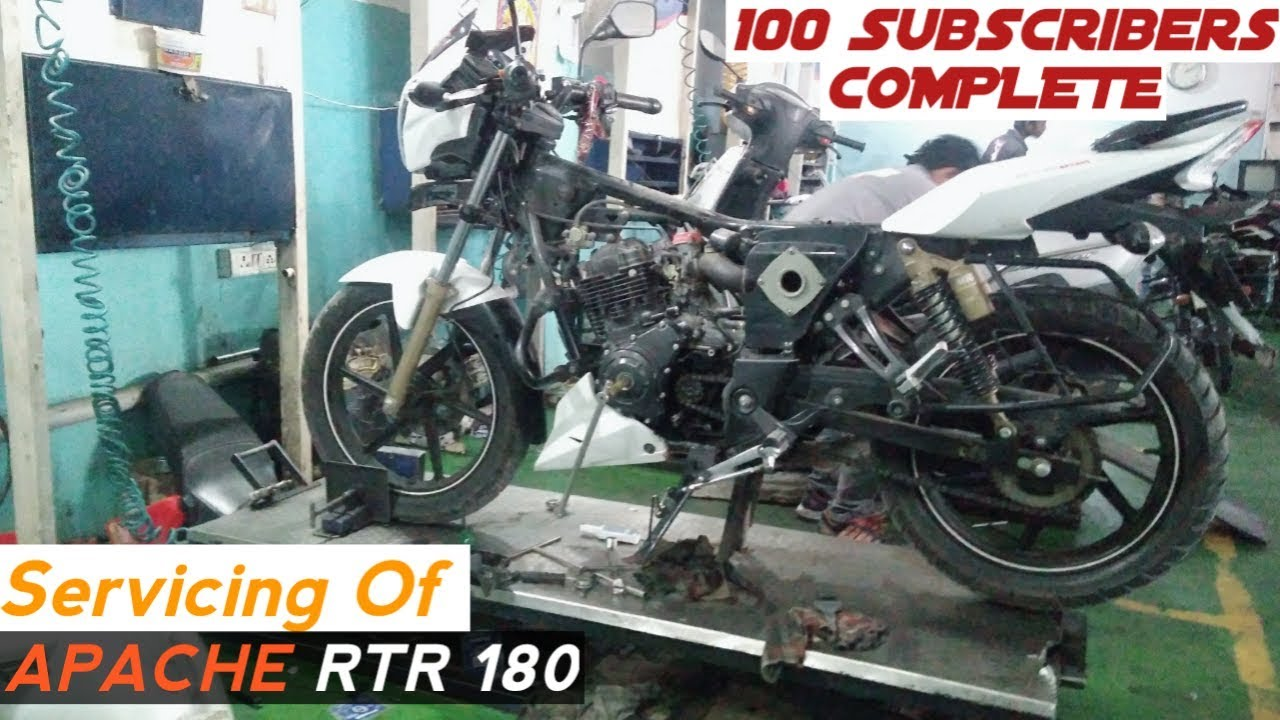 Servicing Of Apache RTR 180 | workshop | 100 SUBSCRIBERS Complete | Thanks  To All
