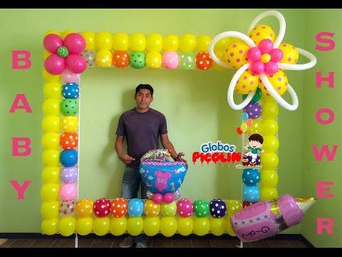 Marco para fotos con globos para baby shower # 32