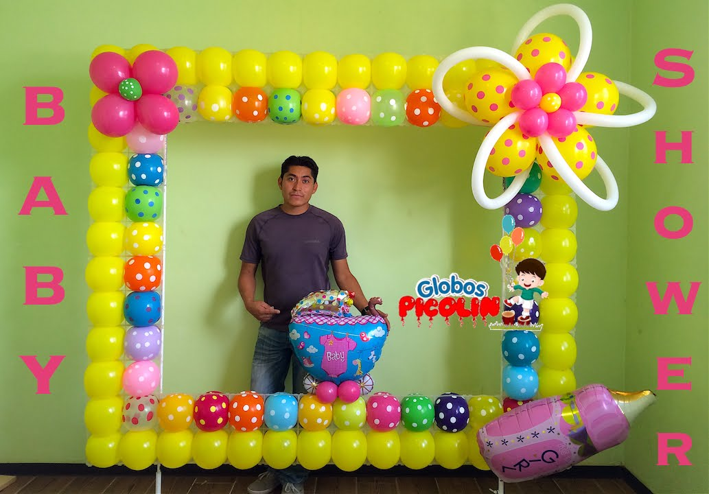 Marco para fotos con globos para baby shower 32 youtube for Decoracion con marcos