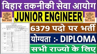 Bihar Junior Engineer Recruitment 2019    Bihar BTSC Jr Engineer Recruitment 2019    Apply Online