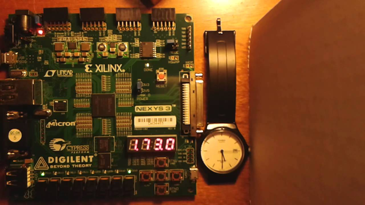 Digital clock implemented on a NEXYS 3