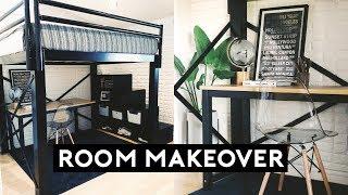 EXTREME ROOM MAKEOVER + LOFT BED ROOM TOUR 2019 | Nastazsa