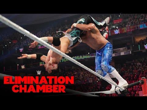 Humberto Carrillo hits a Super Hurricanrana on Andrade: WWE Elimination Chamber 2020 (WWE Network)
