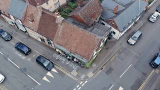 Drone captures Connecting for Good Cov chalkings in Spon End