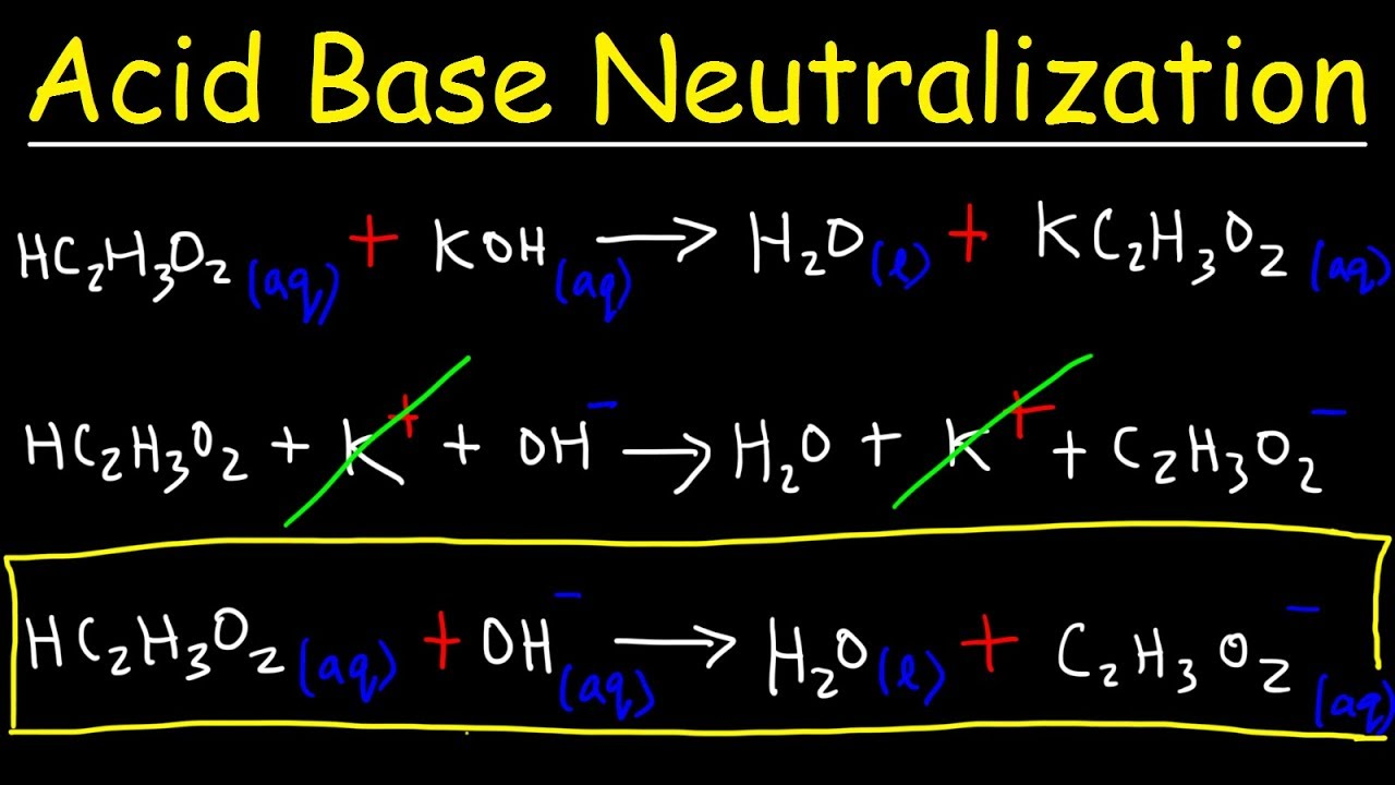acid base neutralization reactions net ionic equations chemistry