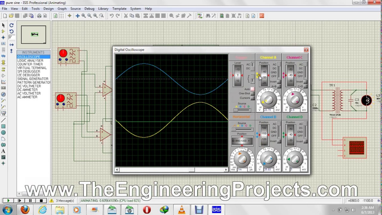 How To Use Oscilloscope In Proteus Isis Youtube