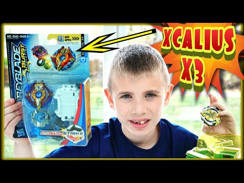 XCALIUS X3 Beyblade Burst Evolution SWITCHSTRIKE Unboxing / Review / Test Battle vs XCALIUS X2