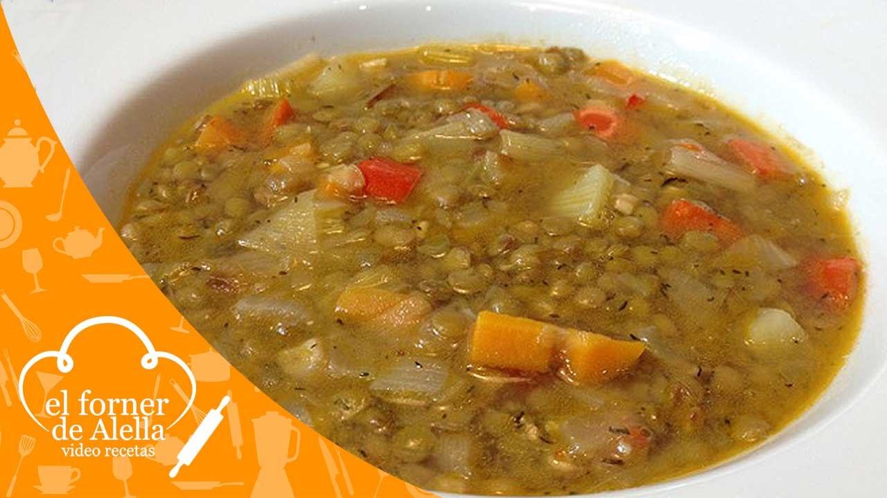 Sopa de lentejas con verduras youtube for Cocinar lentejas con verduras