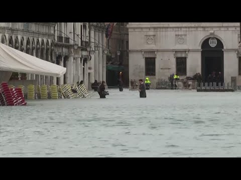 Knee-high flooding at St. Mark's Square in Venice