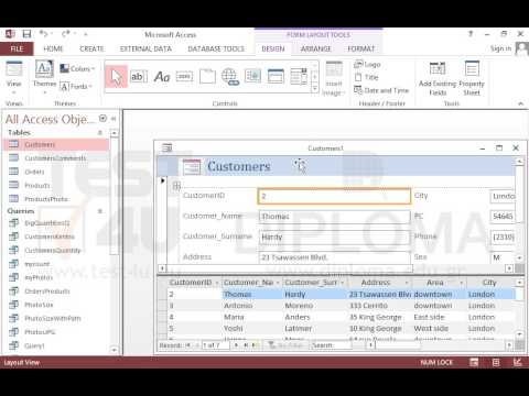 Create a split form based on the Customers table. Save the form ...