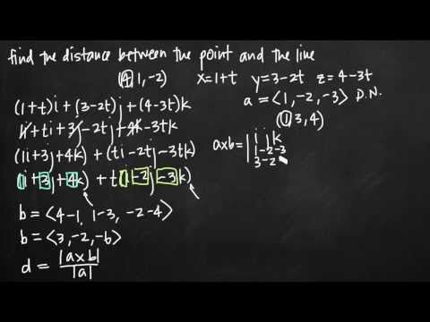 Distance between a point and a line (vectors) (KristaKingMath)