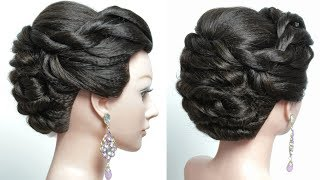 Twisted Updo. Bridal hairstyle for long hair. Tutorial