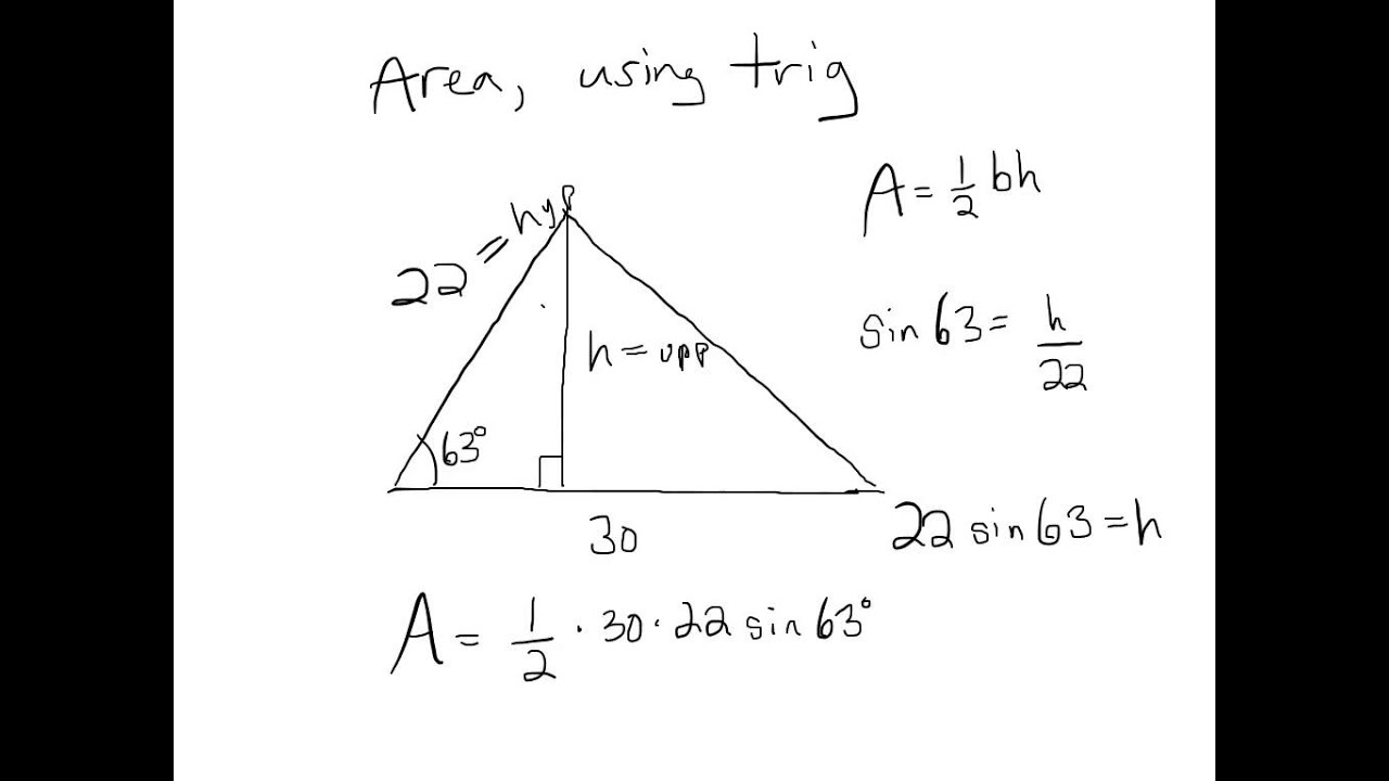 Area Of Triangles Using Trig Youtube