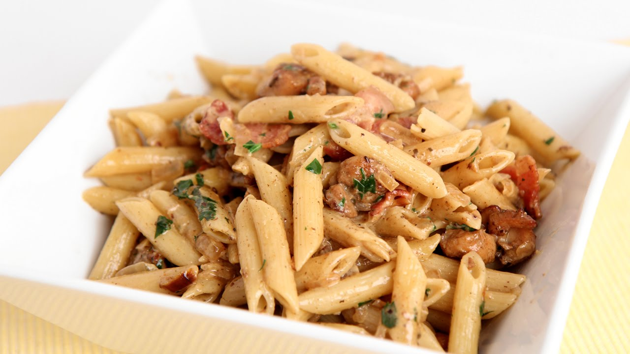 Creamy Pasta W Chicken And Bacon Recipe Laura Vitale