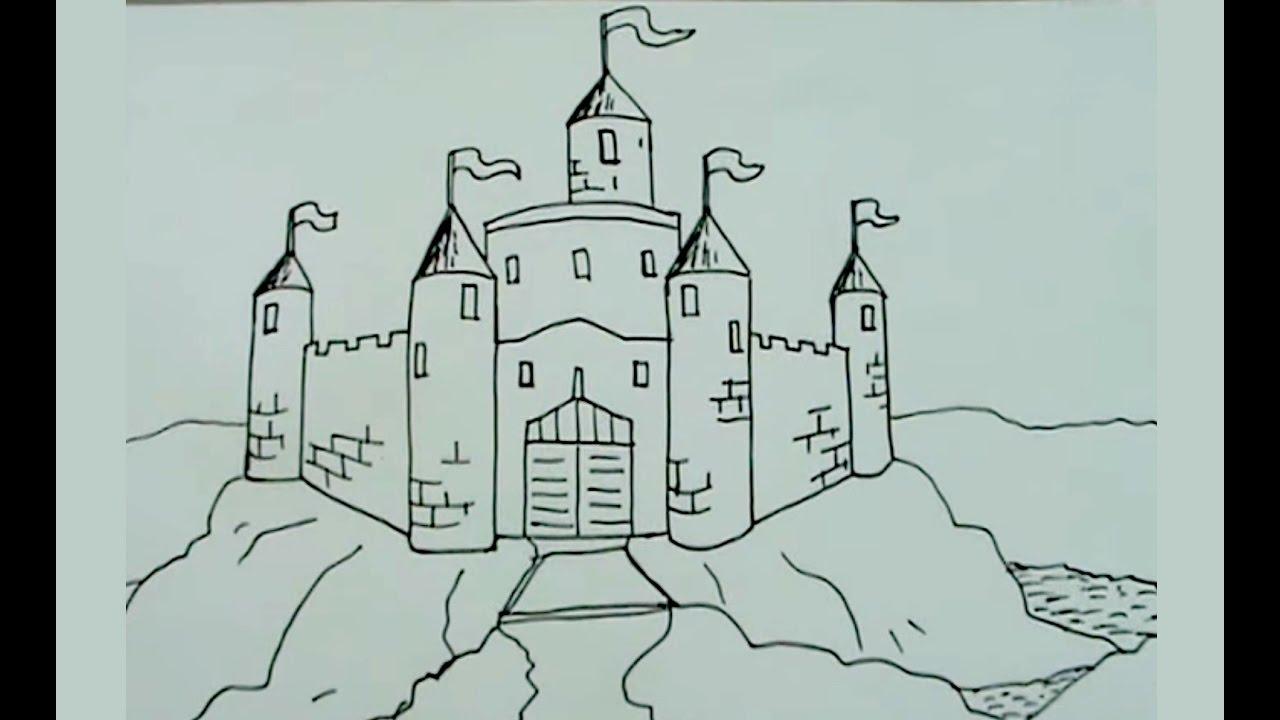 Aprende a dibujar paso a paso un castillo medieval 2/2 - castell ...