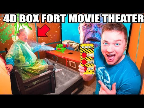 4D BOX FORT Movie Theater! Motion Seats, SLIME, Fog, Lighting, Water & Scents! 📦🍿