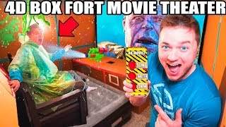 4D BOX FORT Movie Theater! Motion Seats, SLIME, Fog, Lighting, Water & Scents!