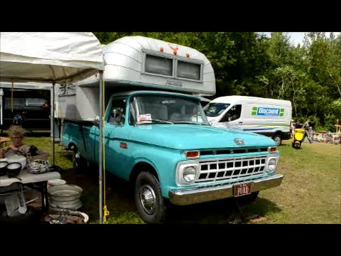 '65 FORD PICKUP TRUCK WITH VINTAGE AVION CAMPER - YouTube