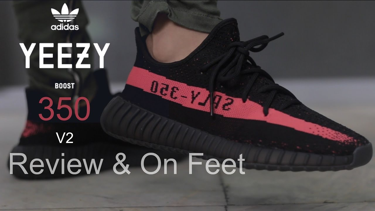 66afd224f8fd adidas Yeezy 350 Boost v2 Black Red Review   On Feet - YouTube