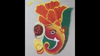How to draw Ganesha Poster Rangoli Design - Ganpati Rangoli design in flower