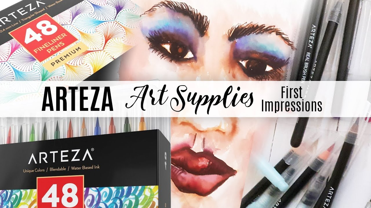First Impressions/Demo - Arteza Watercolor Real Brush Pens | 0.4mm ...