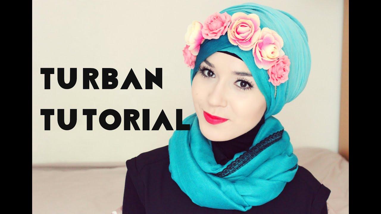 Tutorial Hijab Turban Simpel Dengan Hiasan Mahkota Bunga