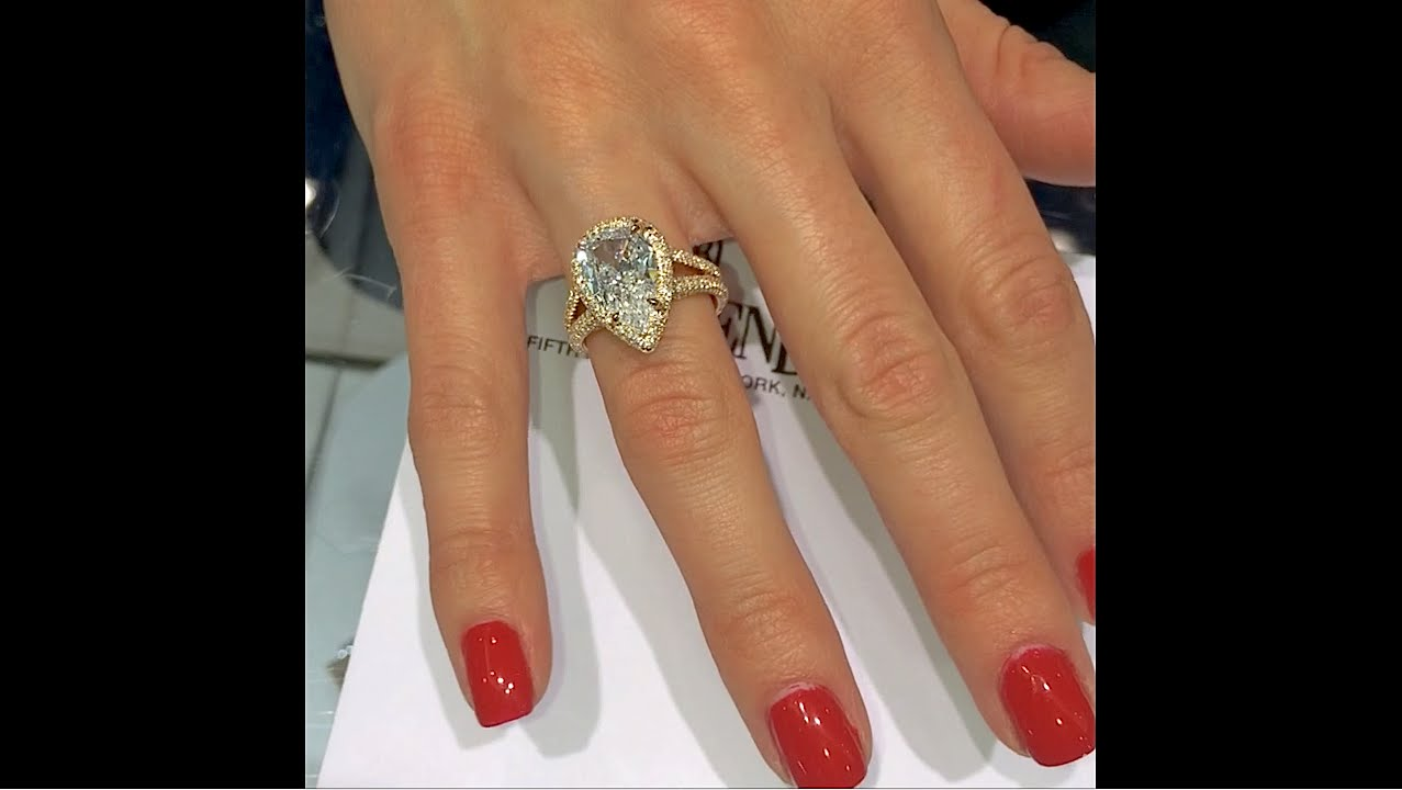 gold stg w center per engagement white wedding rings and shank halo pave ring item diamond pear
