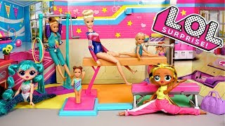 LOL Doll  Family Gymnastics Class Morning Routine with OMG  & Barbie Toys