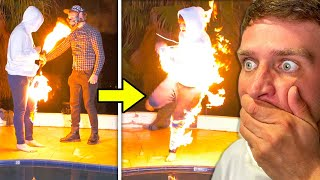 BEST FRIEND CAUGHT ON FIRE!!!!  (FREAK ACCIDENT)
