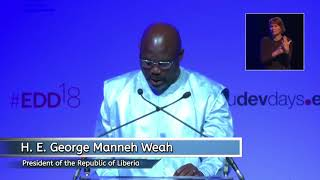 President Weah makes case for Liberia Women at European Development Days summit