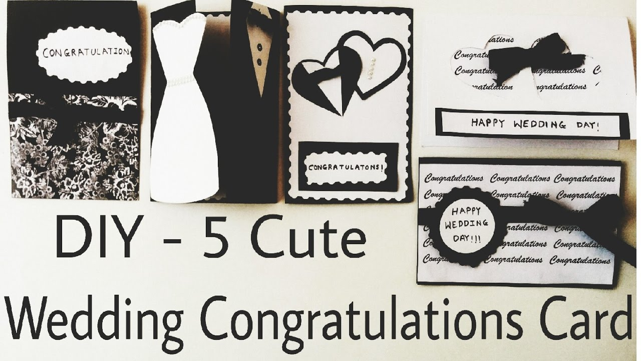 Diy 5 Cute Wedding Congratulation Cards Handmade Cards Easy