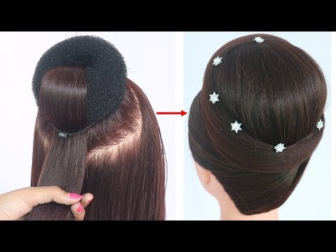new juda hairstyle with gown || hairstyle for medium hair || party hairstyle | hairstyle for wedding thumbnail