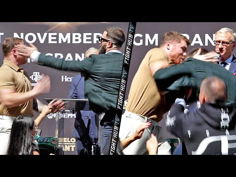 FULL VIDEO - CANELO SWERVES CALEB PLANT SLAP! LANDS PUNCH ON HIM AS BOTH ALMOST FIGHT AT FACE OFF